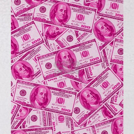 Pink Hundred Dollar Bill Pattern Throw Blanket By