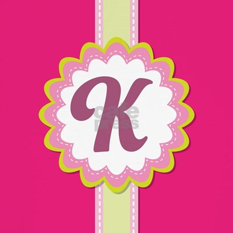 K Letter Images In Pink Monogram Alphabet Letter K Pink Throw Pillow by ...