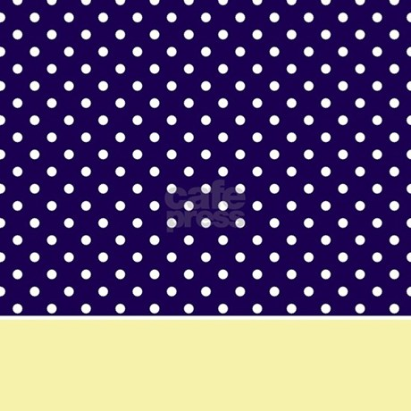 Navy blue yellow w dots shower curtain by
