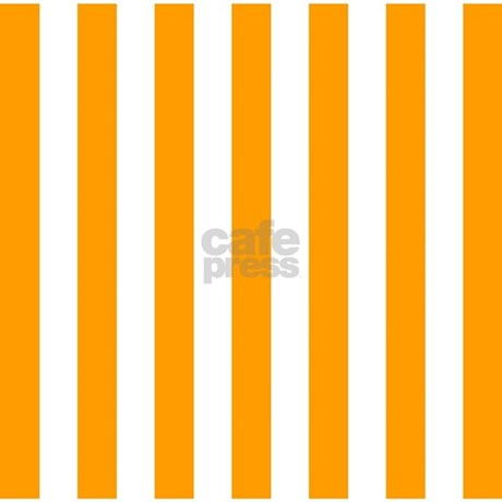 Orange And White Vertical Stripes Shower Curtain By