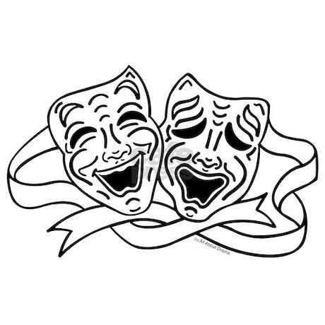 comedy tragedy drama masks black on white mini b by
