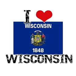 I HEART WISCONSIN FLAG T-Shirt