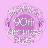 90th Birthday For Mom (Floral) Ceramic Travel Mug