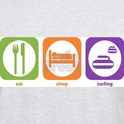 Eat Sleep Curling Ash Grey T-Shirt