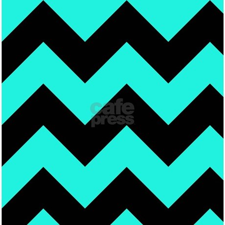 Turquoise And Black Chevron Shower Curtain By GraphicAllusions