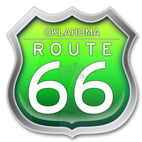 Oklahoma Route 66 Green Shower Curtain By Freewaygear