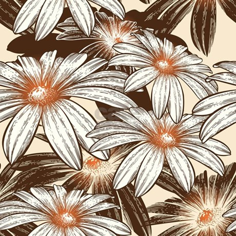 White And Brown Floral Shower Curtain By Zenchic