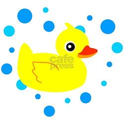 Cute Yellow Rubber Ducky on Water Heart Long Sleev