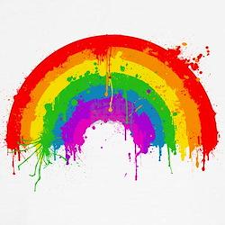 Women's Rainbow Splatter Cap Sleeve T-Shirt