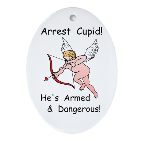 Arrest Cupid Oval Ornament