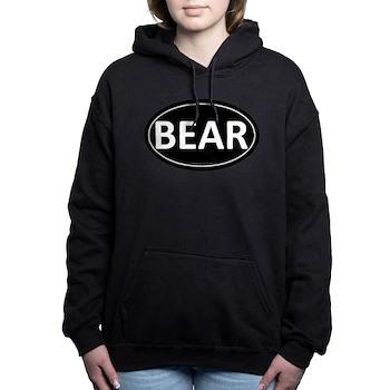 BEAR Black Euro Oval Woman's Hooded Sweatshirt
