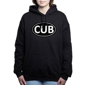 CUB Black Euro Oval Woman's Hooded Sweatshirt