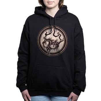 Distressed Wild Beaver Stamp Woman's Hooded Sweatshirt