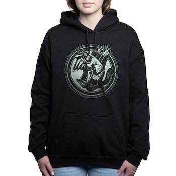 Distressed Wild Piranha Stamp Woman's Hooded Sweatshirt