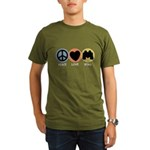Peace Love Bird Organic Men's T-Shirt (dark)