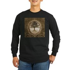 Tree of Life in Brown Long Sleeve T-Shirt