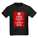 Keep Calm Carry Bins Kids Dark T-Shirt