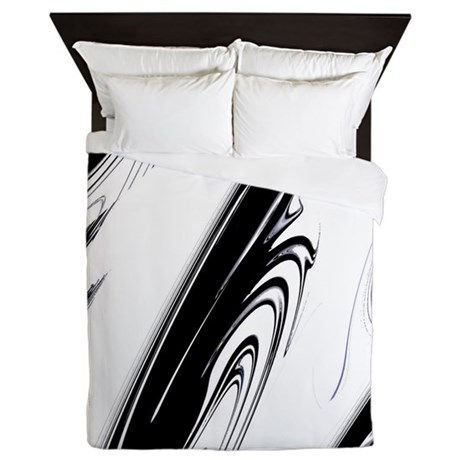 Black and White Flows Queen Duvet
