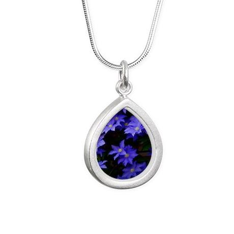 Purple Clamatis Silver Teardrop Necklace