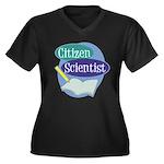 Citizen Scie Women's Plus Size V-Neck Dark T-Shirt