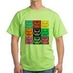 Pop Art Owl Face Green T-Shirt