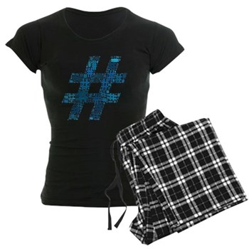 Blue Hashtag Cloud Women's Dark Pajamas