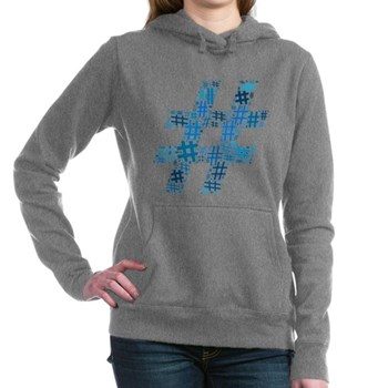 Blue Hashtag Cloud Woman's Hooded Sweatshirt