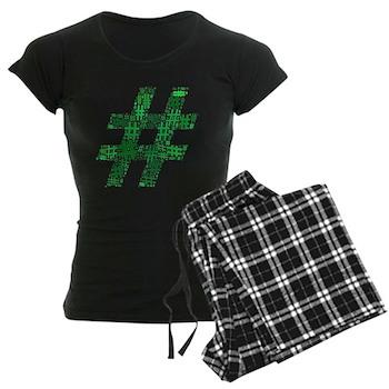 Green Hashtag Cloud Women's Dark Pajamas