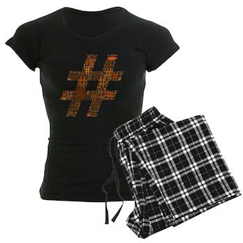 Orange Hashtag Cloud Women's Dark Pajamas