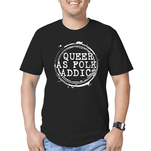 Queer as Folk  Addict Stamp Men's Dark Fitted T-Shirt