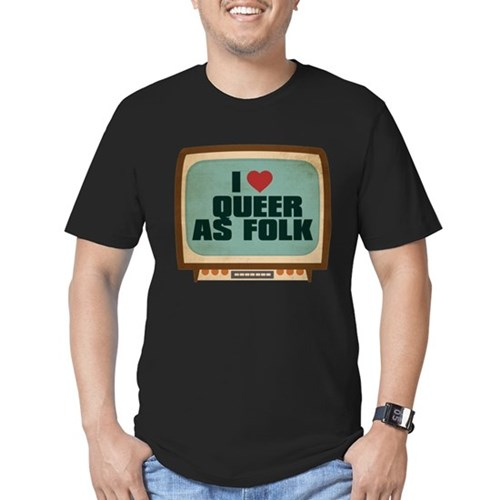 Retro I Heart Queer as Folk  Men's Dark Fitted T-Shirt