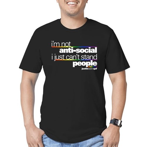 I'm Not Anti-Social Men's Dark Fitted T-Shirt