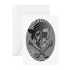 Moire Op Art Pirate Greeting Cards (Pk of 10)
