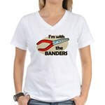 I'm with the Banders Women's V-Neck T-Shirt
