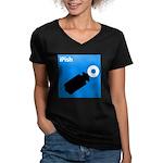 iPish (blue) Women's V-Neck Dark T-Shirt