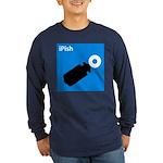 iPish (blue) Long Sleeve Dark T-Shirt