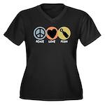 Peace Love Pish Women's Plus Size V-Neck Dark T-Sh