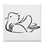Stylized Mandarin Duck Tile Coaster