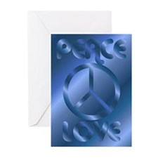 Love Peace Symbol Blue Greeting Cards (Package of