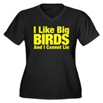 I Like Big BIRDS Women's Plus Size V-Neck Dark T-S