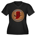 Indiana Birder Women's Plus Size V-Neck Dark T-Shi