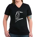 Stylized Kingfisher Women's V-Neck Dark T-Shirt