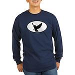 Snowy Owl Oval Long Sleeve Dark T-Shirt
