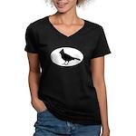Cardinal Oval Women's V-Neck Dark T-Shirt