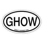 GHOW Great Horned Owl Alpha Code Oval Sticker