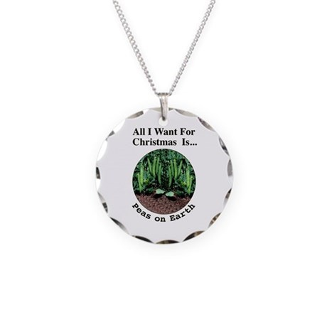 Xmas Peas on Earth Necklace Circle Charm