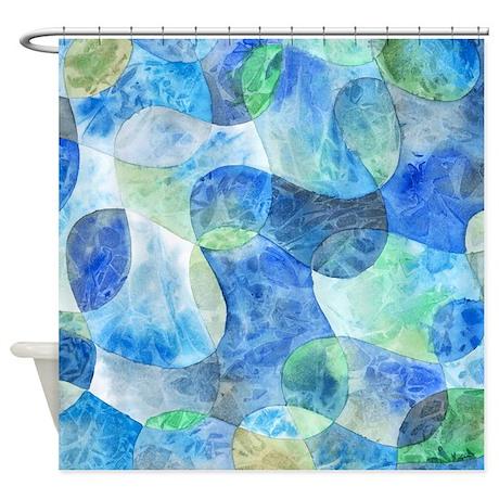 Favorite Aquatic Abstract Watercolor Shower Curtain - Original Works of Art  FG43