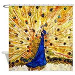 Piano Music Peacock Bathroom Shower Curtain
