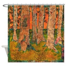 Orange Tangerine Trees Shower Curtain