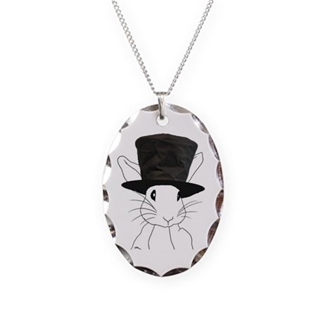 White Rabbit Necklace Oval Charm